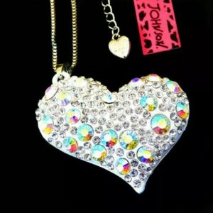 Betsey Johnson silver heart necklace
